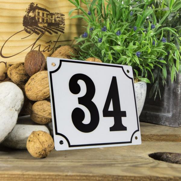 Huisnummerbord groot wit nummer 34