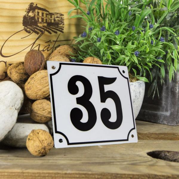 Huisnummerbord groot wit nummer 35