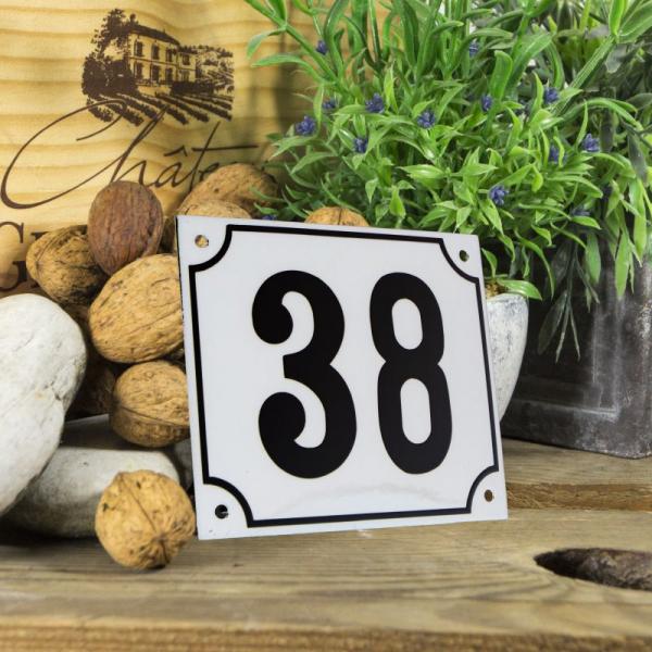 Huisnummerbord groot wit nummer 38
