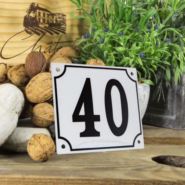 Huisnummerbord groot wit nummer 40
