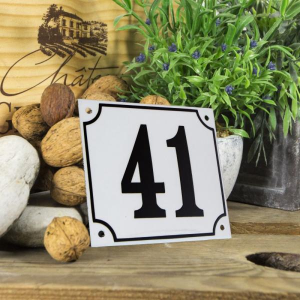 Huisnummerbord groot wit nummer 41