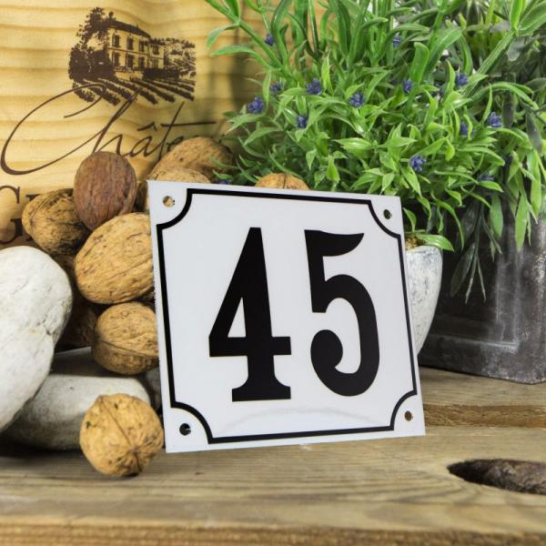 Huisnummerbord groot wit nummer 45