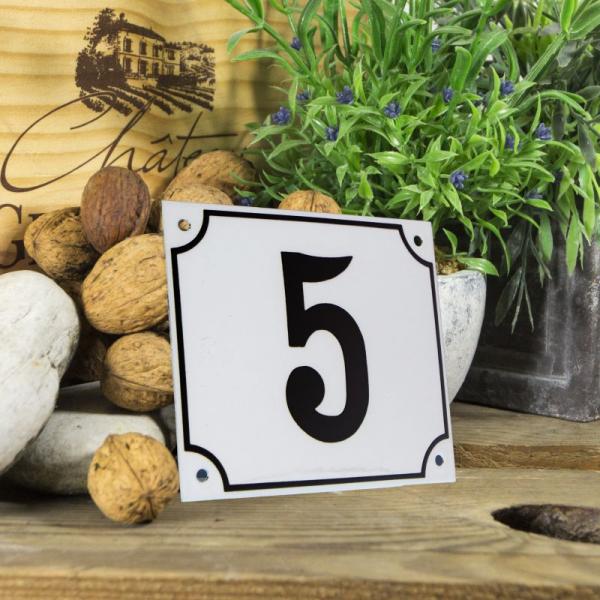 Huisnummerbord groot wit nummer 5