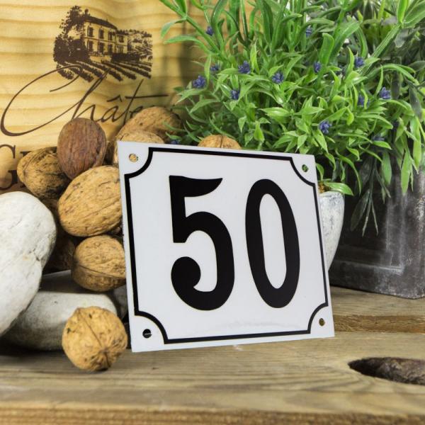 Huisnummerbord groot wit nummer 50