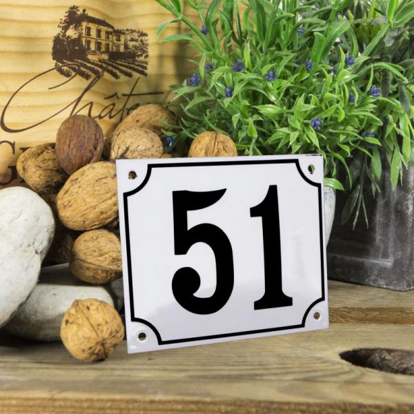 Huisnummerbord groot wit nummer 51