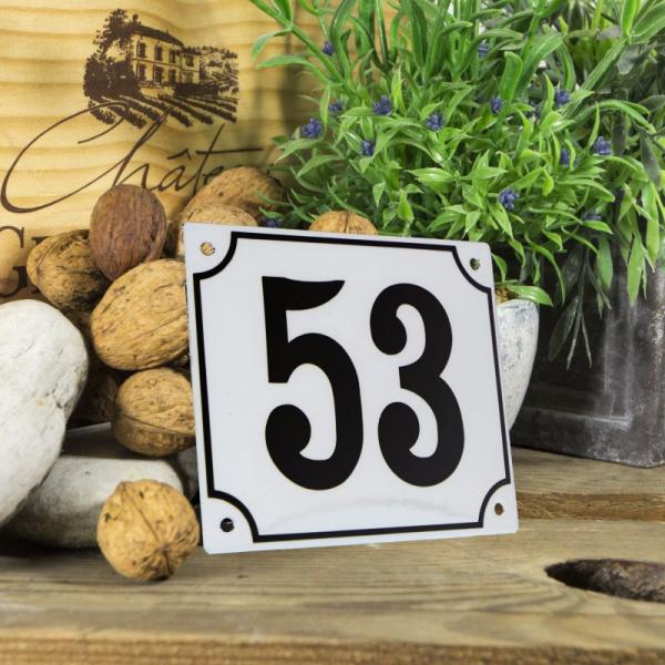 Huisnummerbord groot wit nummer 53