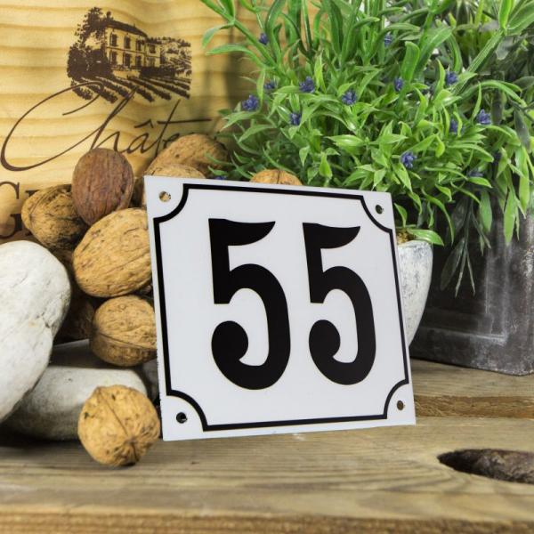 Huisnummerbord groot wit nummer 55