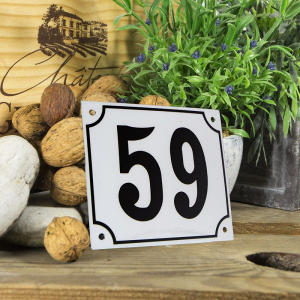 Huisnummerbord groot wit nummer 59