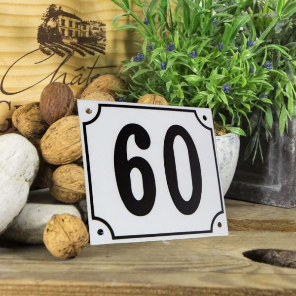 Huisnummerbord groot wit nummer 60