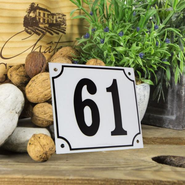 Huisnummerbord groot wit nummer 61