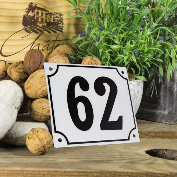 Huisnummerbord groot wit nummer 62