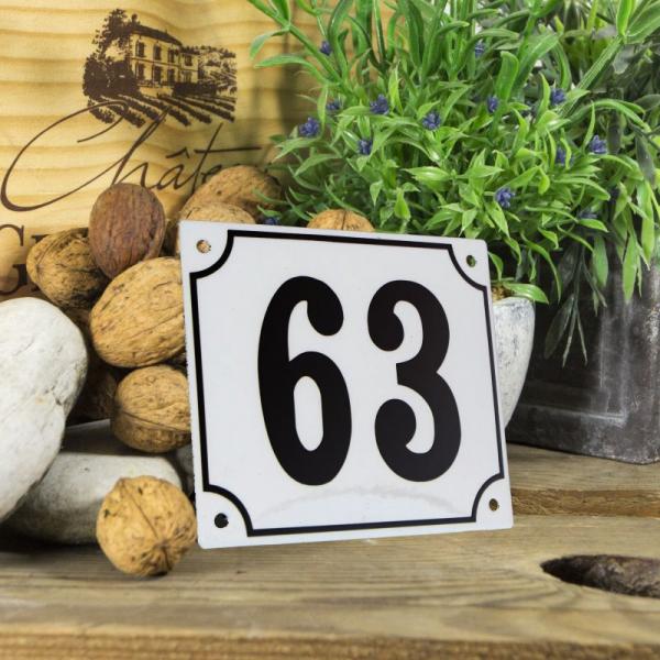 Huisnummerbord groot wit nummer 63