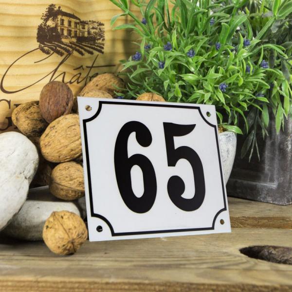 Huisnummerbord groot wit nummer 65
