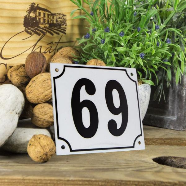 Huisnummerbord groot wit nummer 69
