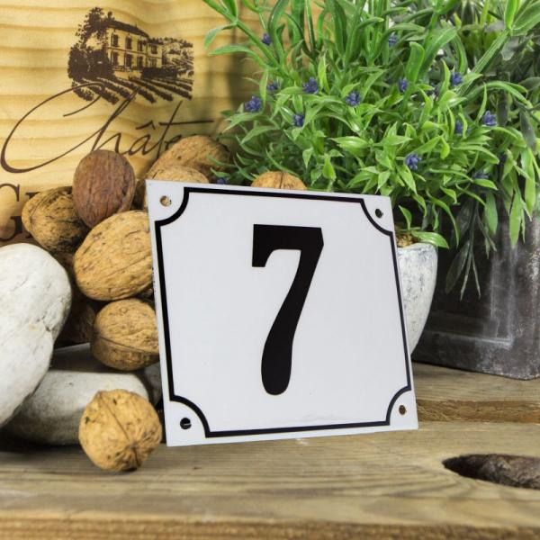 Huisnummerbord groot wit nummer 7
