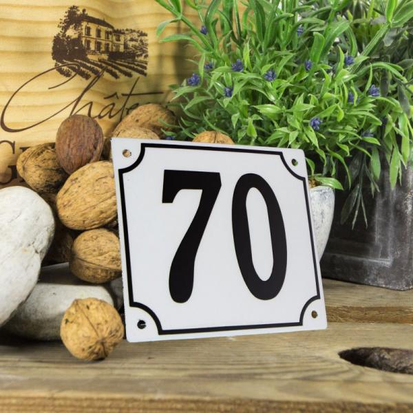 Huisnummerbord groot wit nummer 70