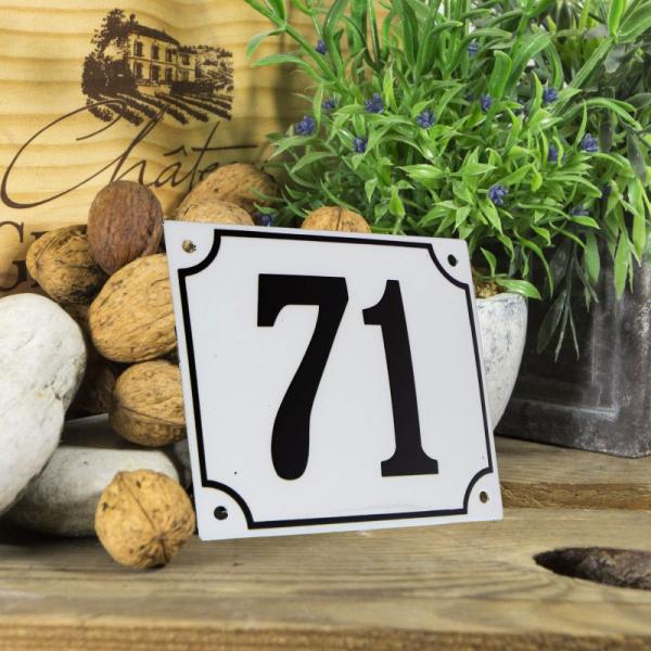 Huisnummerbord groot wit nummer 71