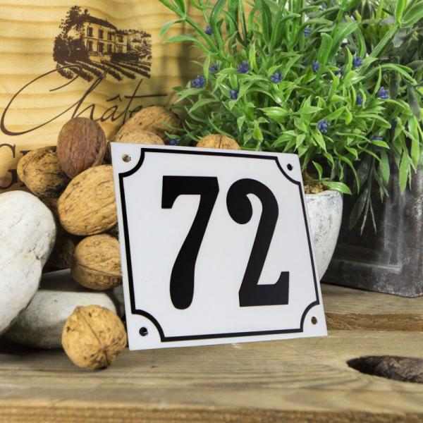Huisnummerbord groot wit nummer 72