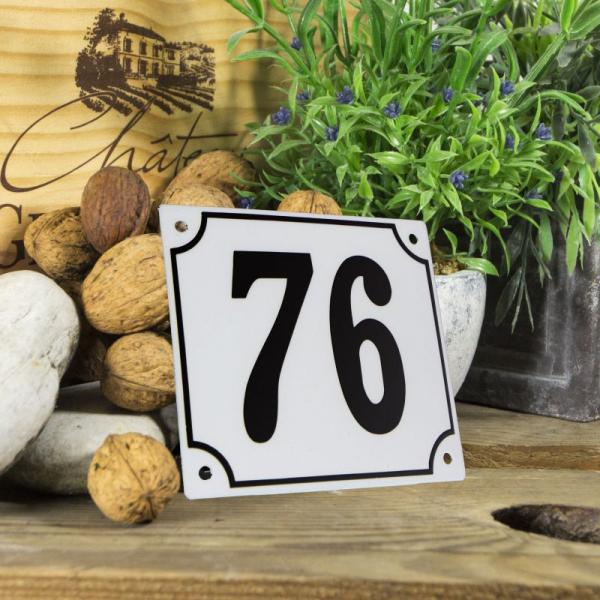 Huisnummerbord groot wit nummer 76