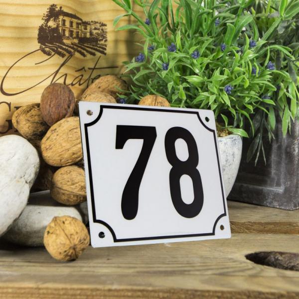 Huisnummerbord groot wit nummer 78