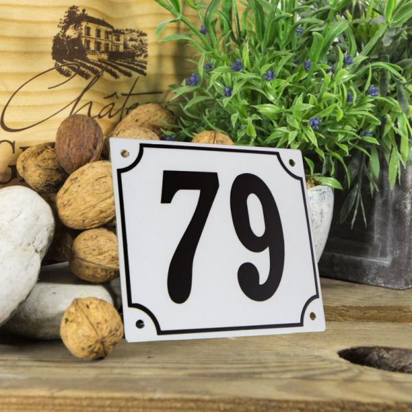 Huisnummerbord groot wit nummer 79