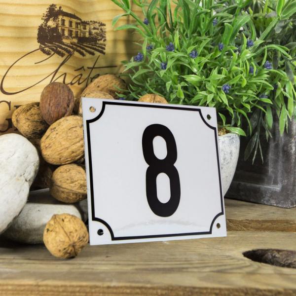 Huisnummerbord groot wit nummer 8