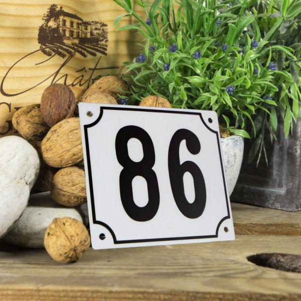 Huisnummerbord groot wit nummer 86
