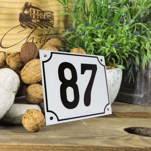 Huisnummerbord groot wit nummer 87