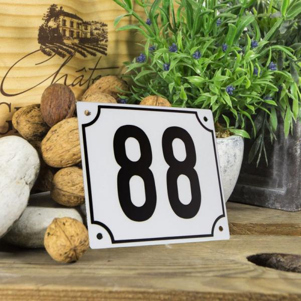 Huisnummerbord groot wit nummer 88