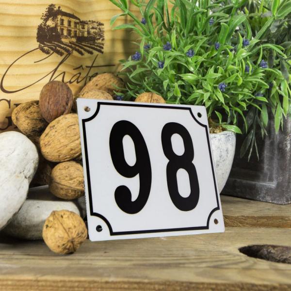 Huisnummerbord groot wit nummer 98