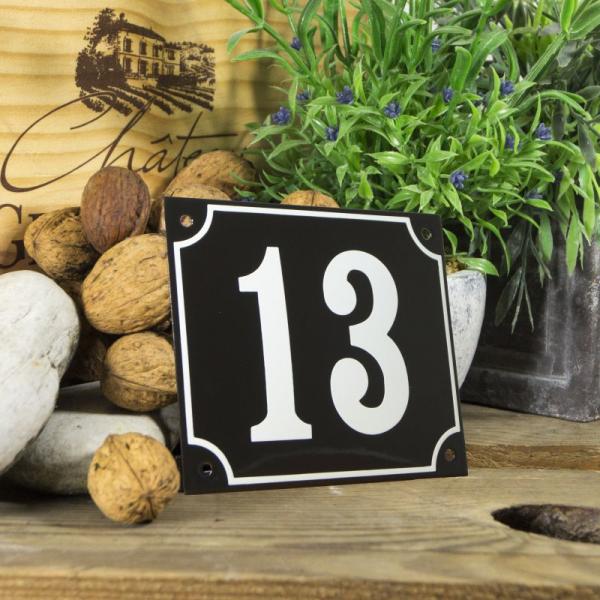 Huisnummerbord groot zwart nummer 13