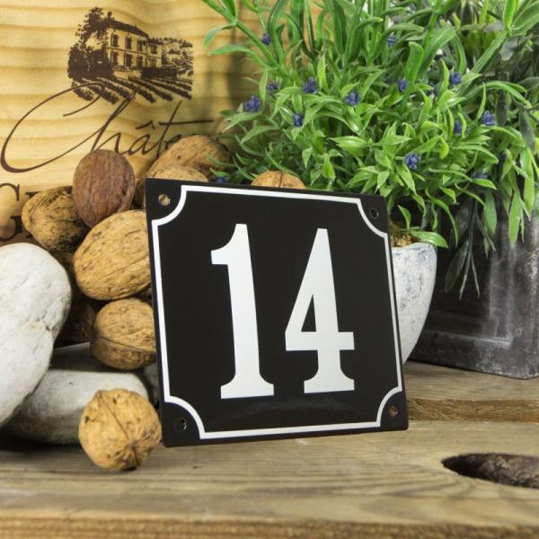Huisnummerbord groot zwart nummer 14
