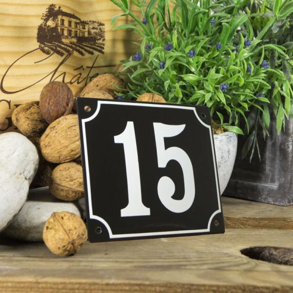 Huisnummerbord groot zwart nummer 15