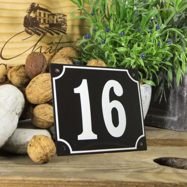 Huisnummerbord groot zwart nummer 16