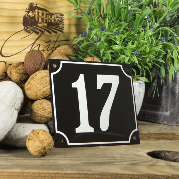 Huisnummerbord groot zwart nummer 17