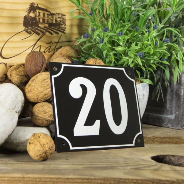 Huisnummerbord groot zwart nummer 20