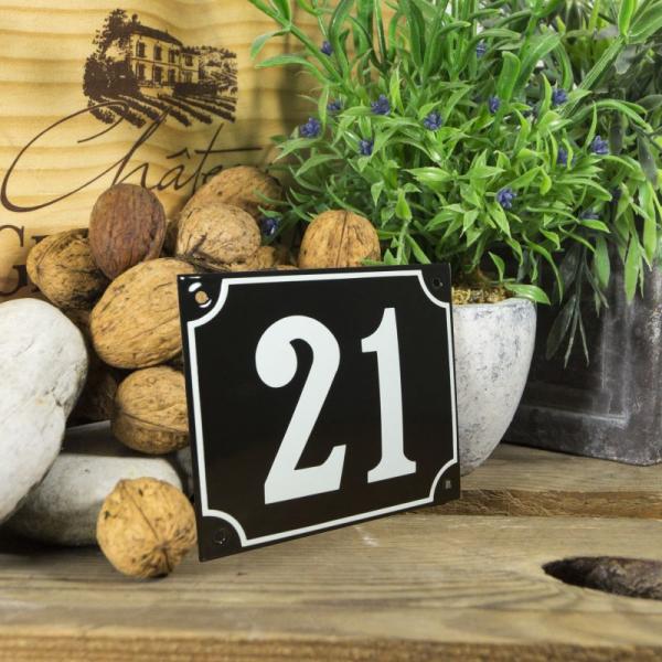 Huisnummerbord groot zwart nummer 21