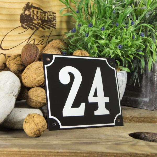 Huisnummerbord groot zwart nummer 24