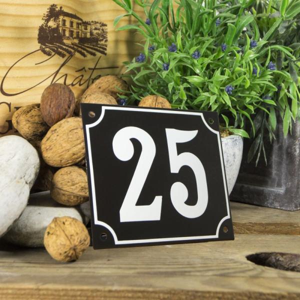 Huisnummerbord groot zwart nummer 25