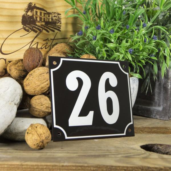Huisnummerbord groot zwart nummer 26