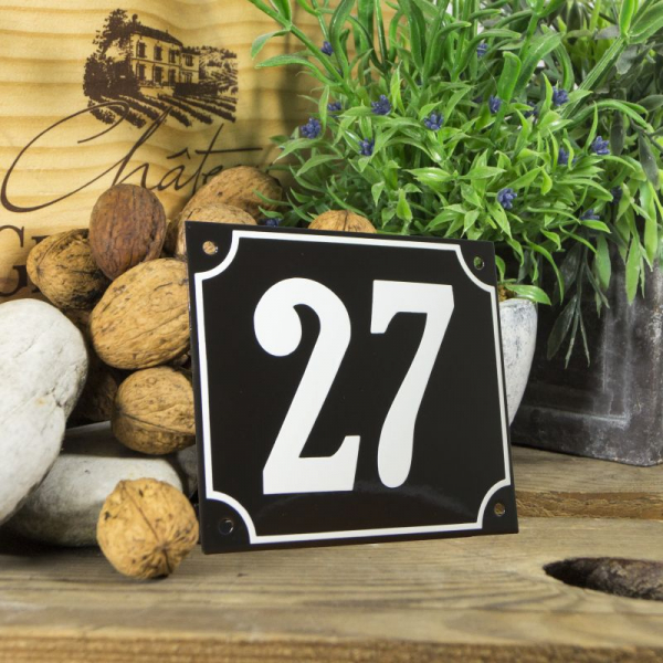 Huisnummerbord groot zwart nummer 27