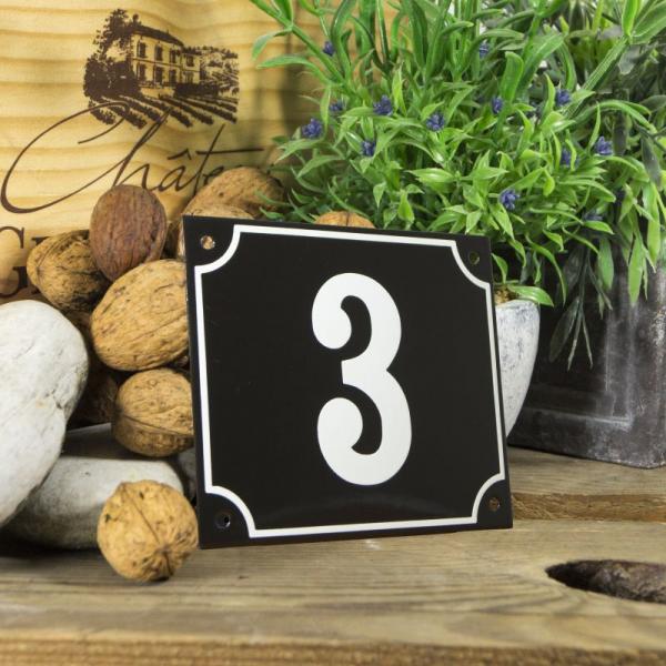 Huisnummerbord groot zwart nummer 3