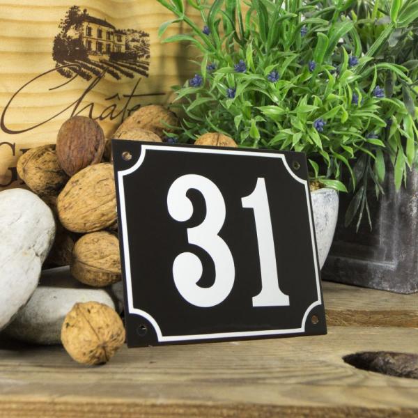 Huisnummerbord groot zwart nummer 31