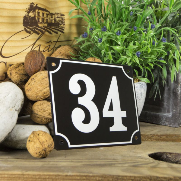 Huisnummerbord groot zwart nummer 34