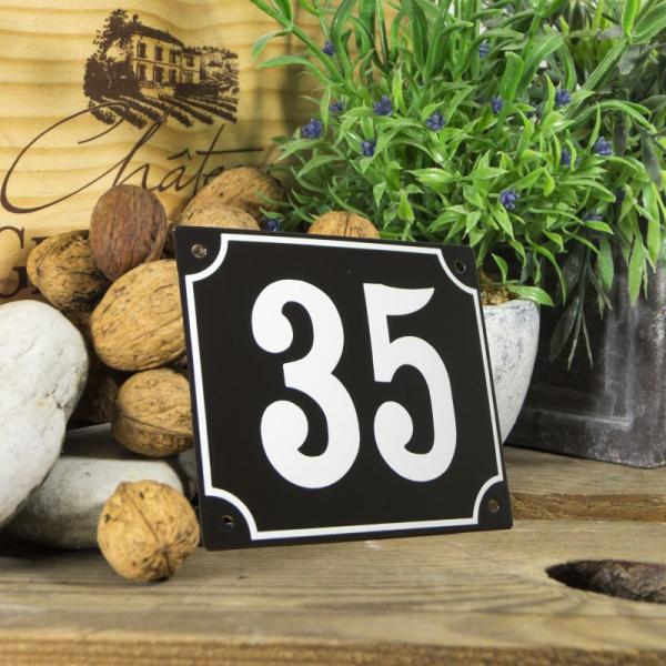 Huisnummerbord groot zwart nummer 35
