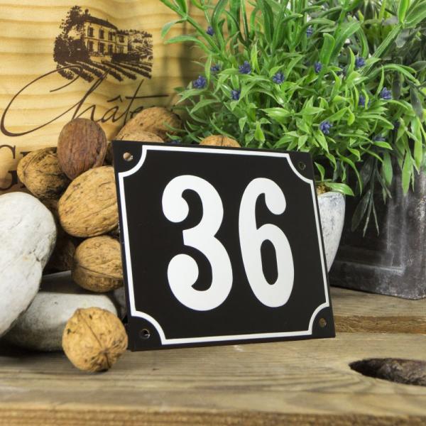 Huisnummerbord groot zwart nummer 36