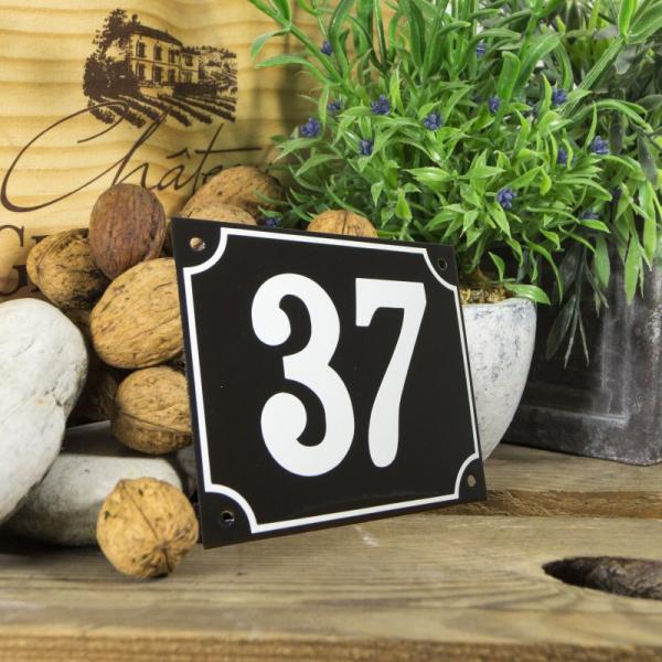 Huisnummerbord groot zwart nummer 37