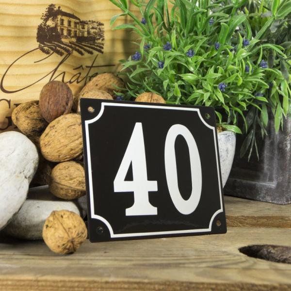 Huisnummerbord groot zwart nummer 40