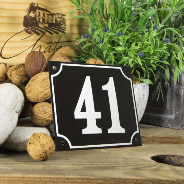 Huisnummerbord groot zwart nummer 41