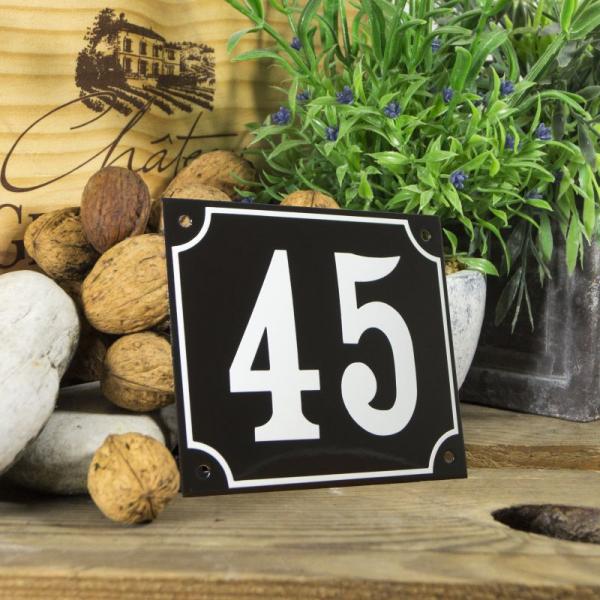 Huisnummerbord groot zwart nummer 45